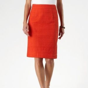 Coldwater Creek Eyelet Orange Pencil Skirt